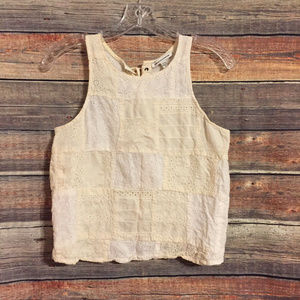 American eagle eyelet lace up tank top